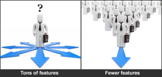 Tons of features or Fewer features? Less is More.